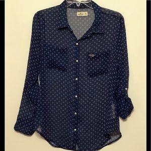 Hollister Sheer Button Down Shirt